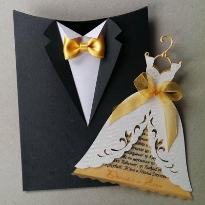 "wedding invitation boxes ""groom suit"", handmade bridal invitation, Wedding invitations"