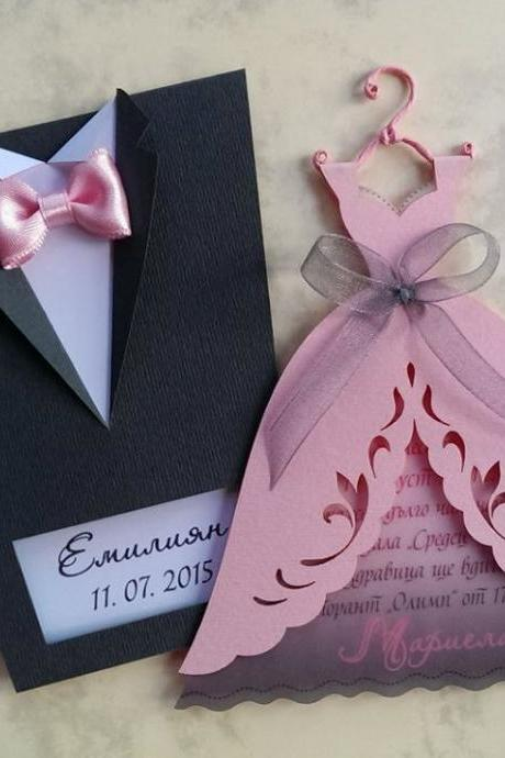 "Bridal Wedding Invitations ""Bride and Groom"", Tuxedo Invitation, Bridal Gown Invitation, Wedding Dress Invitation, Groom Suit Invitation"