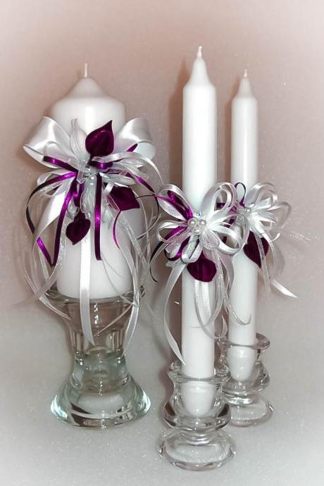 "Handmade Wedding Unity Candles ""Deep Purple Calla Lilies"", Pillar Candle, Taper Candles, Personalized Candles, Unity Candle Set"