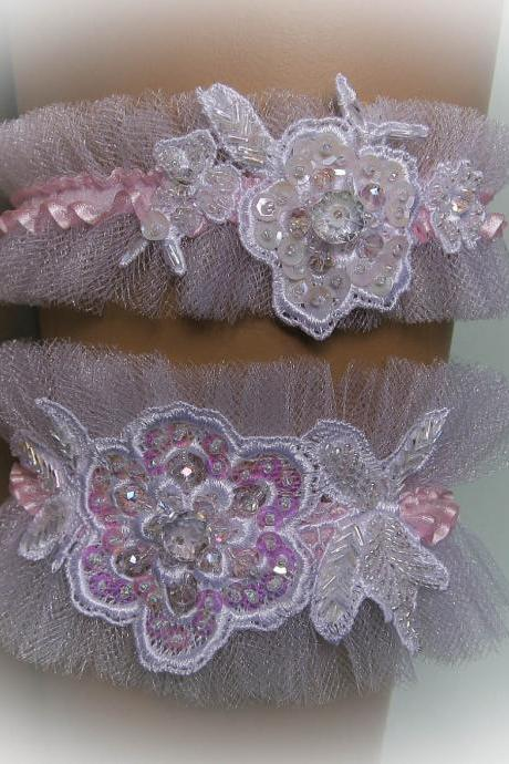 Blush Wedding Garter Set with Crystals, Beads, Sequins, Bridal Garter Set, Modern Garter, Stretch Garter, Crystal Garter, Flower Garter