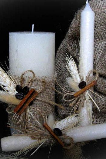 Handmade Rustic Wedding Unity Candles, Pillar Candle, Taper Candles, Personalized Candles, Unity Candle Set