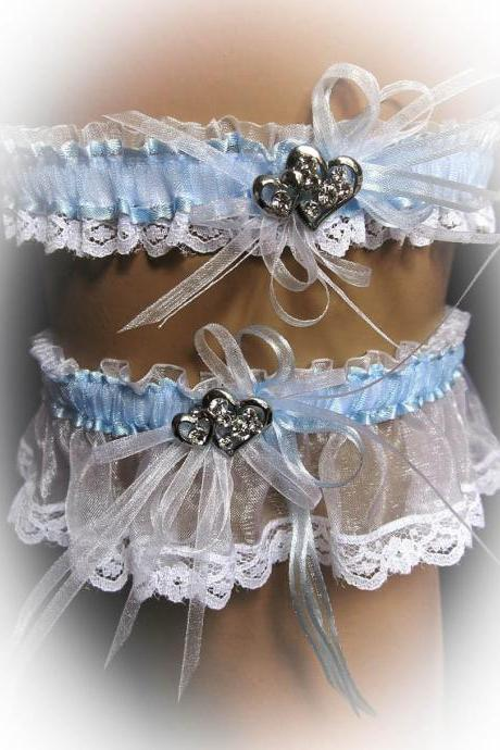 Lace Wedding Garter Set with Crystal Brooch, Bridal Garter Set, Modern Garter, Stretch Garter, Crystal Garter, Something Blue, Prom Garter