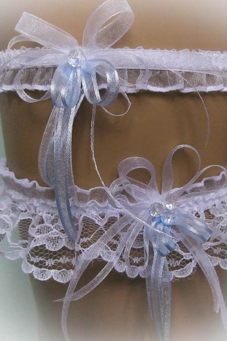 Lace Wedding Garter Set with Crystal Beads, White and Blue, Bridal Garter Set, Vintage Garter, Stretch Garter, Crystal Garter, Prom Garter
