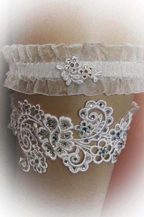 Lace Wedding Garter Set with Swarovski Crystals, Bridal Garter Set, Toss Garter, Stretch Garter, Crystal Garter, Prom Garter, Vintage Style