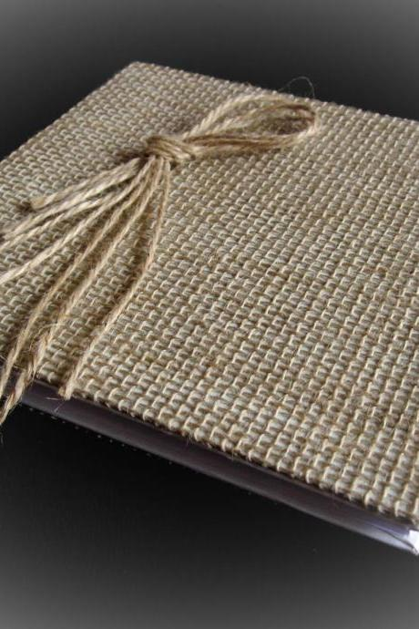 Rustic Wedding Guest Book Burlap and Flax, Personalized Guest Book, Unique Guest Book, Wedding Guestbook, Wedding Sign In Book, Fall Wedding
