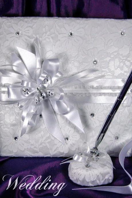 Satin Wedding Guest Book and Pen, Personalized Guest Book, Wedding Guestbook, Wedding Sign In Book, Wedding Guest Album, Crystal Guest Book