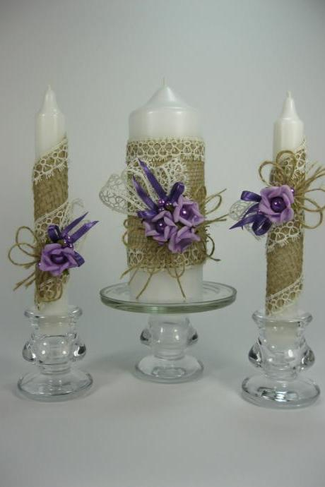 Rustic Wedding Unity Candles, Purple Roses, Pearls, Handmade Candles, Pillar Candle, Taper Candles, Personalized Candles, Unity Candle Set