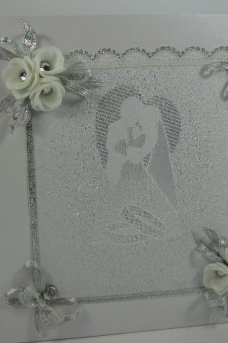 Wedding Guest Book Vintage Lace, Crystals, Personalized Guest Book, Wedding Guestbook, Wedding Sign In Book, White Wedding, Wedding Memories